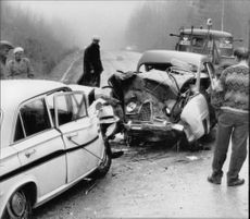 The cars' fronts were completely pushed in Gålsjö clash