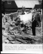 Prime Minister Tage Erlander, seen here at a ruined water mill in Vitemölla during visits to Kivik District