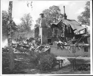 The remains of the burnt Nackanäs inns outside Stockholm