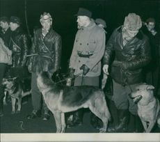 People search party with dogs gathered at Högdalens subway station.