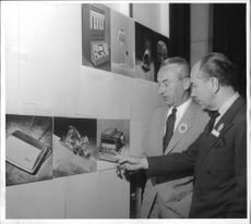 ICSID president Peter Müller-Munk from the United States and Count Sigvard Bernadotte look at designer expense in the Technical Museum
