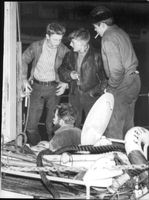 """Henning Duhrkall, Louis Tjörnil, Svend LEFELD and skipper Tage Wedel after the rescue of the rescue cruiser """"Bernard Ingelsson""""."""