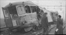 Extensive damage to rälsbusståg after a collision with a freight train in Arlöv station.