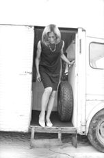 Jeannette Jousselot stepping out of the truck.