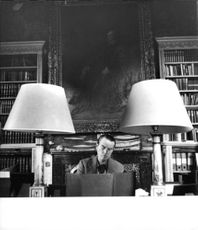 Ian Campbell, 12th and 5th Duke of Argyll working in his study at Inveraray Castle.