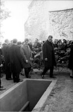 People gathered during the burial of Jean Cocteau.