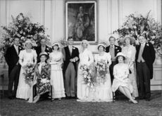 """Photo from television series """"Upstairs, Downstairs"""". Wedding between Lord Stockbridge and Georgina, niece of Lord and Lady Bellamy."""