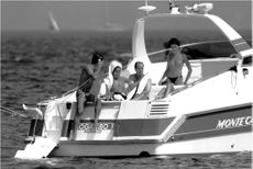"Prince Albert of Monaco along with friends suns on his boat ""Mogambo II"" in Saint Tropez"
