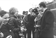 Fabiola and Baudouin meeting with people.
