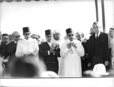 Mohammed V Sultan of Morocco as guest of honor in an event.