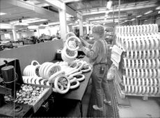 There are many stroller wheels leaving the Brio stroller factory every year.
