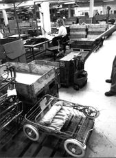 Interior image from the Brio pram factory in Osby.