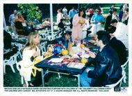 """Actress Brooke Shields and Natassja Kinski decorate pumpkins at the """"Celebrity Halloween Event"""" for children with cancer"""