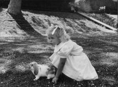 Princess Madeleine plays with her rabbit