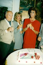 Sophia Loren celebrates her 60th birthday together with director Carlo Ponti, her sister Anna Maria with husband Tamiz and niece Alessandra Mussolini