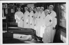 Medical workers strikes a pose for the camera during the war between Finland and Russia. 1939.