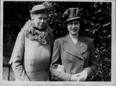 Queen Mary and Princess Elizabeth during her 18th birthday.