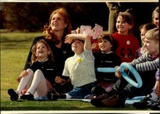 Sarah Ferguson together with the Chernobyl children during their visit to England.