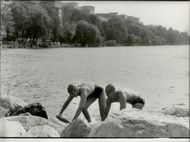 Annlo Arktoft to the left of the picture, won the swim in Stockholm, Sweden