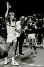 Stefan Edberg at the awards ceremony after the final in Stockholm Open 1986