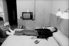 Here lies Jonas Svensson in his hotel room at Grand Hotel before the match in Stockholm Open