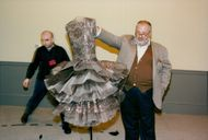 Gianfranco Ferre puts the last detail on costumes at Dior Expo