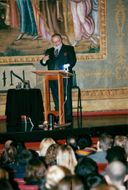 Italian designer Gianfranco Ferre gives a conference