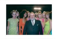 Gianfranco Ferre with models for fashion show for Dior