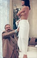 Gianfranco Ferre with the supermodel Helena Christensen in the new collection for Dior