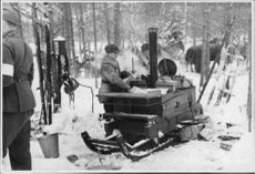 The Finnish army makes preparations for a winter war.