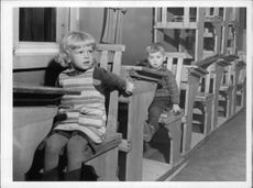 From escape no camp in Heinola. In order to occupy the kids here had been arranged with small temporary schooling. 1939.