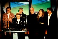 The Eagles singer Don Henley speaks in front of the group at a ceremony with the Rock & Roll Hall of Fame