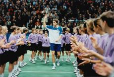 Thomas Enqvist is celebrated by the audience and officials after the victory in Stockholm Open.
