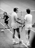The tennis players Ray Moore and Sandy Mayer after the final in Stockholm Open 1977