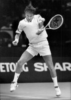 Jimmy Connors in action against Martin Jaite in the Stockholm Open