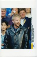 Boris Becker on the stands during a match in the soccer championship.