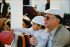 Boris Becker's father Heinz Becker along with Noah's son in Qatar.