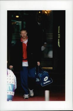 Boris Becker leaves the Ritz Hotel to practice before the match.