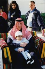 Portrait image of Boris Becker and his son Noah taken on a visit to the emirates of Qatar.