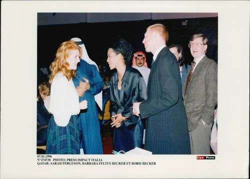 Boris Becker and his wife Barbara in concert with Sarah Fergusson at a charity dinner in Qatar.