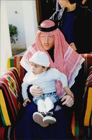 Portrait image of Boris Becker and his son Noah, taken on a visit to the emirate of Qatar.