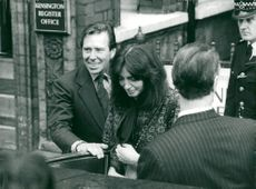 Lord Snowdon with his new wife Lucy Lindsay-Hogg after their wedding at the Kensington registry office
