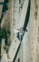 Part of Highway 14 has collapsed after an earthquake in Los Angeles
