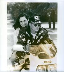 """A scene from the film """"Cool as Ice"""", with Vanilla Ice as John 'Johnny' Van Owen and Kristin Minter as Kathy Winslow, 1991."""