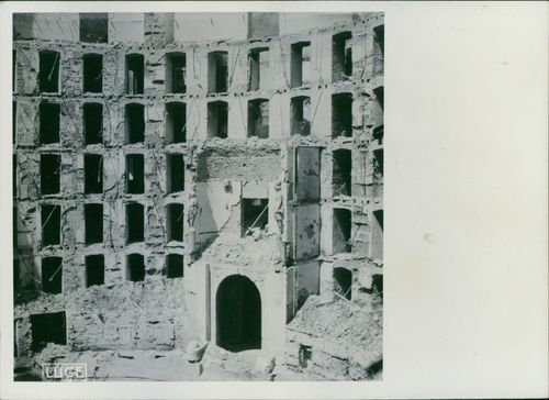 Teatro Carlo Felice was damaged by the American bombing, during the war in Italy, 1943.