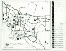 OS in Los Angeles 1984. A map showing the various venues in the Olympic Games