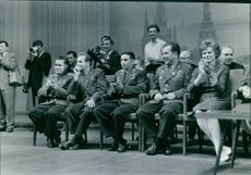 Valentina Tereshkova sitting with her colleagues. 1963.