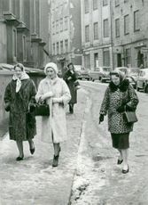 Princesses Irene, Alexandra and Beatrix walking in the Old Town