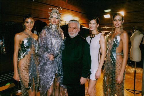 Paco Rabanne backstage with Adriana Sklenarikova and other models. 1999.