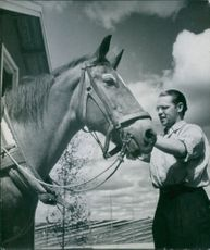Knis Karl Aronsson tying his horse. 1944.